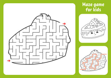 Abstract maze. Game for kids. Puzzle for children. Labyrinth conundrum. Find the right path. Education worksheet. With answer. Illustration