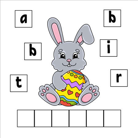 Words puzzle. Education developing worksheet. Learning game for kids. Activity page. Puzzle for children. Riddle for preschool. Illustration