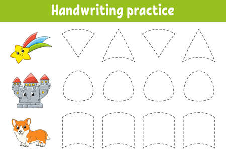 Handwriting practice. Education developing worksheet. Activity page. Color game for children.