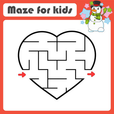 Abstract maze. Game for kids. Puzzle for children. Cartoon style. Labyrinth conundrum. Color vector illustration. Find the right path. Cute character.