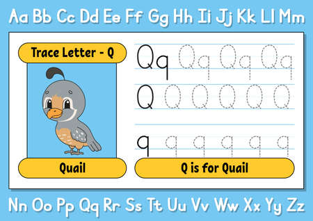 Trace letters. Writing practice. Tracing worksheet for kids. Learn alphabet. Cute character. Vector illustration. Cartoon style. Ilustração