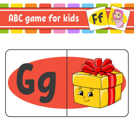 ABC flash cards. Alphabet for kids. Learning letters. Education worksheet. Activity page for study English. Color game for children. Isolated vector illustration. Cartoon style.