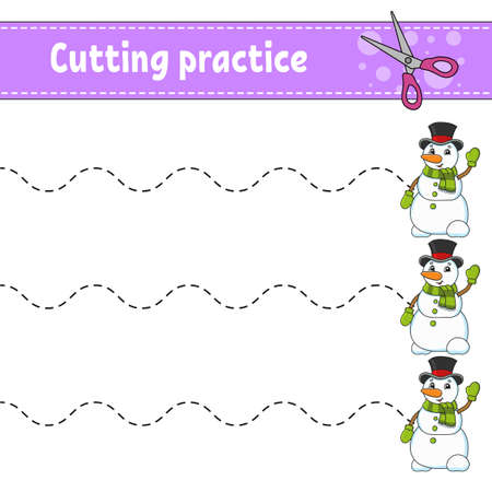 Cutting practice for kids. Education developing worksheet. Activity page. Color game for children. Isolated vector illustration. Cartoon character.