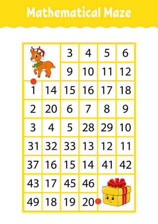 Mathematical rectangle maze. Game for kids. Number labyrinth. Education worksheet. Activity page. Riddle for children. Cartoon characters. Illustration