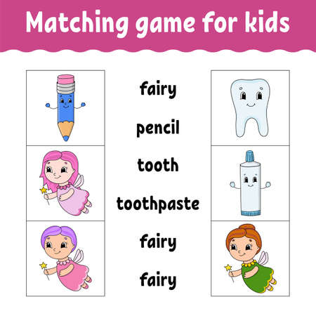 Matching game for kids. Find the correct answer. Draw a line. Learning words. Activity worksheet. Cartoon character. Illustration