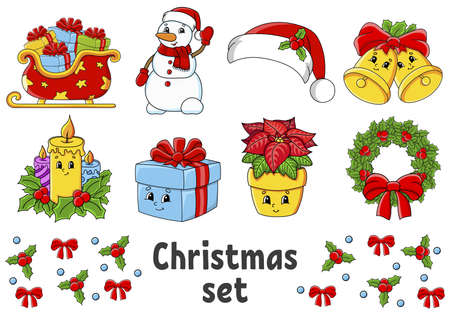 Set of stickers with cute cartoon characters. Christmas theme. Hand drawn. Colorful pack. Vector illustration. Patch badges collection. Label design elements. For daily planner, diary, organizer. Illustration