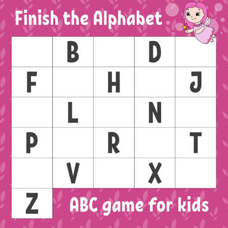 Finish the alphabet. ABC game for kids. Education developing worksheet. Learning game for kids. Color activity page. Illustration