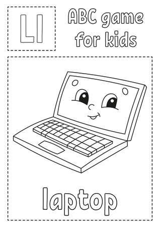 Letter L is for laptop. ABC game for kids. Alphabet coloring page. Cartoon character. Word and letter. Vector illustration.