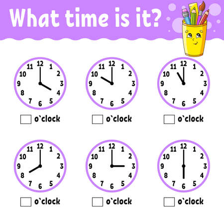 Learning time on the clock. Educational activity worksheet for kids and toddlers. Game for children. Simple flat isolated color vector illustration in cute cartoon style. Illustration