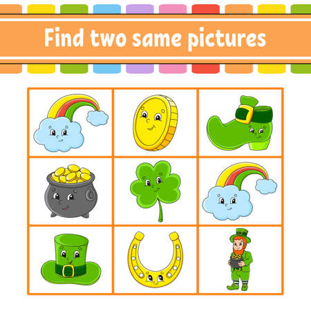 Find two same pictures. Task for kids. St. Patrick's day. Education developing worksheet. Activity page. Color game for children. Funny character. Isolated vector illustration. Cartoon style. Illustration