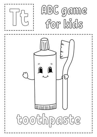 ABC game for kids. Alphabet coloring page. Cartoon character. Word and letter. Vector illustration.