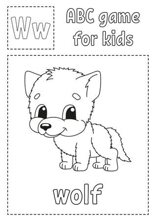 Letter W is for wolf. ABC game for kids. Alphabet coloring page. Cartoon character. Word and letter. Vector illustration.
