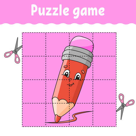 Puzzle game for kids. Education developing worksheet. Back to school. Color activity page. For toddler. Riddle for preschool. Isolated vector illustration in cartoon style. Illustration