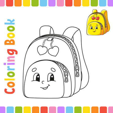 Coloring book for kids. Back to school. Cheerful character. Vector illustration. Cute cartoon style. Fantasy page for children. Black contour silhouette. Isolated on white background.