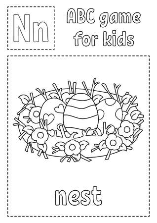 Letter N is for nest. ABC game for kids. Alphabet coloring page. Cartoon character. Word and letter. Vector illustration. Illustration
