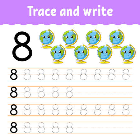 Learn Numbers. Trace and write. Back to school. Handwriting practice. Learning numbers for kids. Education developing worksheet. Isolated vector illustration in cute cartoon style.