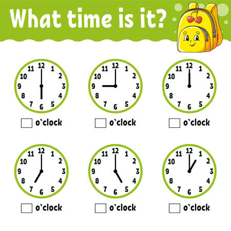 Learning time on the clock. Educational activity worksheet for kids and toddlers. Game for children. Simple flat isolated color vector illustration in cute cartoon style. Ilustracje wektorowe