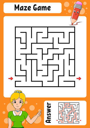 Square maze. Game for kids. Funny labyrinth. Education developing worksheet. Activity page. Puzzle for children. Cartoon style. Back to school. Logical conundrum. Color vector illustration. Illustration