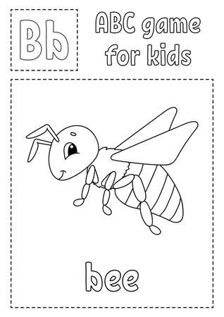 Letter B is for bee. ABC game for kids. Alphabet coloring page. Cartoon character. Word and letter. Vector illustration.