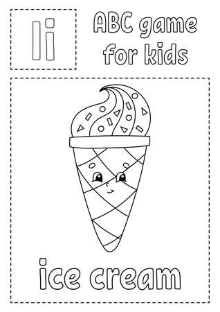 Letter I is for ice cream. ABC game for kids. Alphabet coloring page. Cartoon character. Word and letter. Vector illustration. Çizim