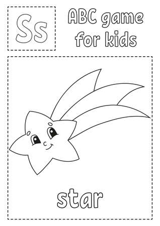 Letter S is for star. ABC game for kids. Alphabet coloring page. Cartoon character. Word and letter. Vector illustration. Illustration