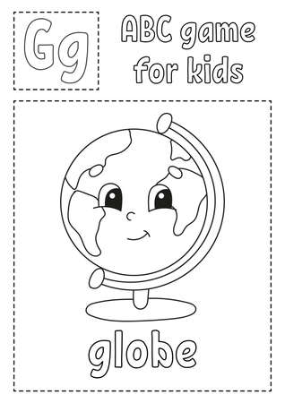 Letter G is for globe. ABC game for kids. Alphabet coloring page. Cartoon character. Word and letter. Vector illustration.