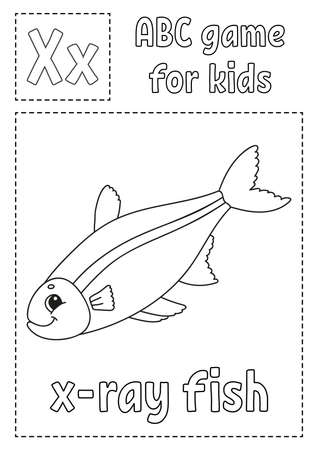 Letter X is for x-ray fish. ABC game for kids. Alphabet coloring page. Cartoon character. Word and letter. Vector illustration.