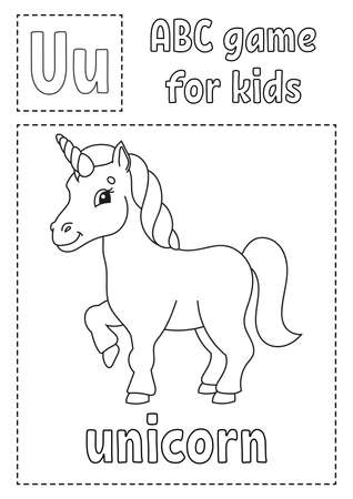 Letter U is for unicorn. ABC game for kids. Alphabet coloring page. Cartoon character. Word and letter. Vector illustration. Illustration