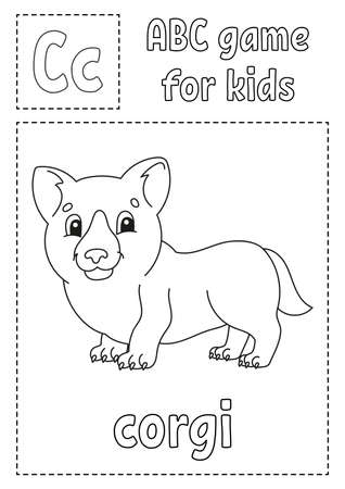 Letter C is for corgi. ABC game for kids. Alphabet coloring page. Cartoon character. Word and letter. Vector illustration.