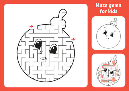 Abstract maze. Game for kids. Puzzle for children. Labyrinth conundrum. Christmas theme. Find the right path. Education worksheet. With answer.