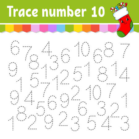 Trace number. Handwriting practice. Learning numbers for kids. Education developing worksheet. Activity page. Game for toddlers and preschoolers. Isolated vector illustration in cute cartoon style.