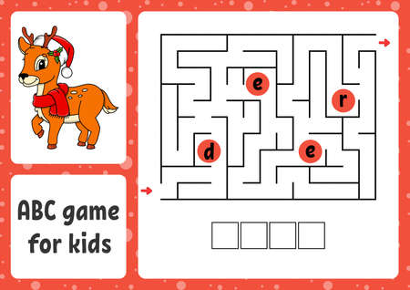 ABC maze for kids. Rectangle labyrinth. Christmas theme. Activity worksheet. Puzzle for children. Cartoon style. Logical conundrum. Color vector illustration.
