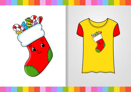 T-shirt design. Cute character on shirt. Christmas theme. Hand drawn. Colorful vector illustration. Cartoon style. Isolated on white background. Vettoriali