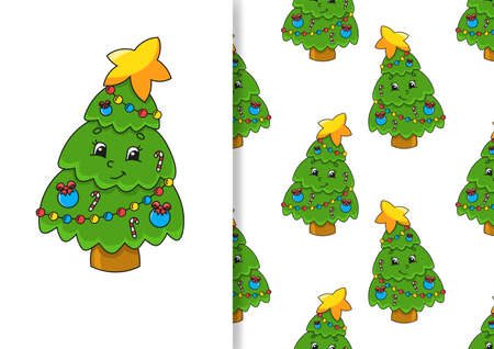 Seamless pattern. Cartoon style. Christmas theme. Hand drawn. Color vector illustration isolated on white background.