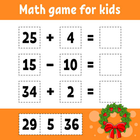 Math game for kids. Christmas theme. Education developing worksheet. Activity page with pictures. Game for children. Color isolated vector illustration. Funny character. Cartoon style.