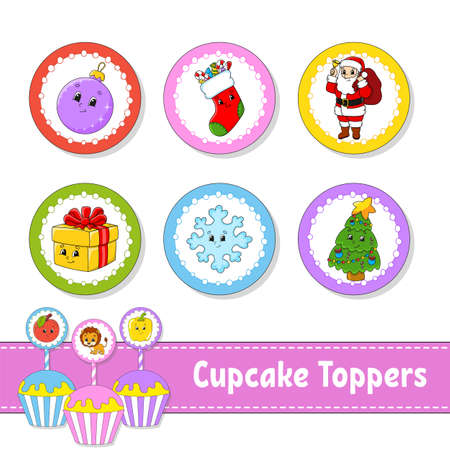 Cupcake Toppers. Set of six round pictures. Christmas theme. Cartoon characters. Cute image. For birhday, party, baby shower.