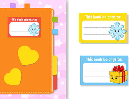 Book label stickers for kids. The rectangular shape. Christmas theme. Isolated color vector illustration. Cartoon character. For the diary, notebook, book.