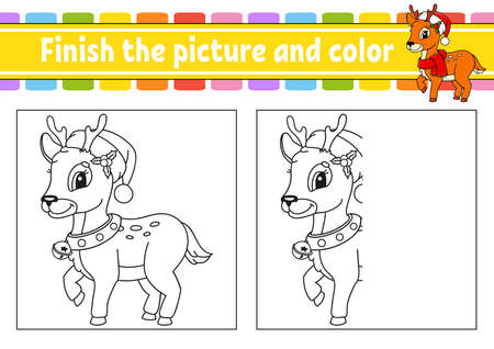 Finish the picture and color. Christmas theme. Cartoon character isolated on white background. For kids education. Activity worksheet. Vettoriali