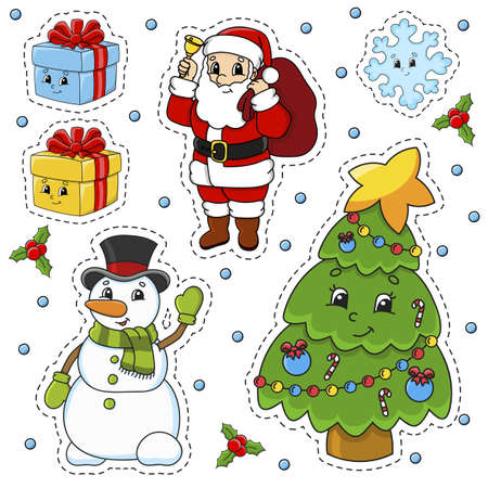 Set of stickers with cute cartoon characters. Christmas theme. Hand drawn. Colorful pack. Vector illustration. Patch badges collection. Label design elements. For daily planner, diary, organizer. Vettoriali
