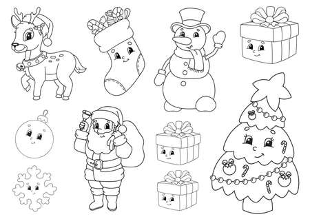 Coloring book for kids. Christmas theme. Cheerful characters. Vector illustration. Cute cartoon style. Black contour silhouette. Isolated on white background.