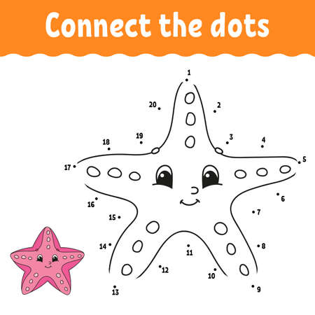 Dot to dot game. Draw a line. For kids. Activity worksheet. Coloring book. With answer. Cartoon character. Vettoriali