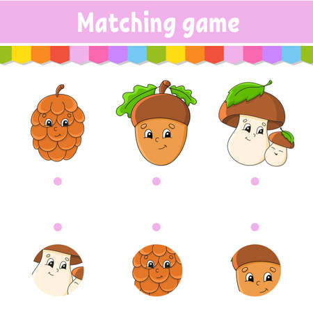 Matching game for kids. Education developing worksheet. Draw a line. Activity page. Cartoon character. Autumn theme.