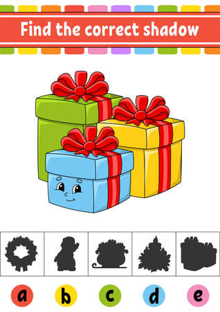 Find the correct shadow. Education developing worksheet. Christmas theme. Activity page. Color game for children. Isolated vector illustration. Cartoon character.