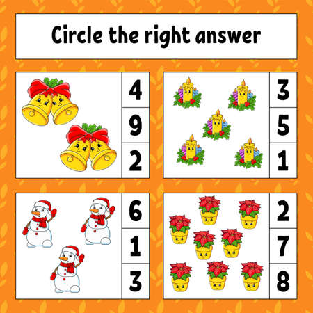 Circle the right answer. Christmas theme. Education developing worksheet. Activity page with pictures. Game for children. Color isolated vector illustration. Funny character. Cartoon style. Vettoriali