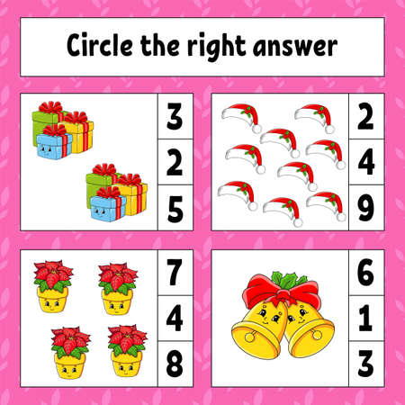 Circle the right answer. Christmas theme. Education developing worksheet. Activity page with pictures. Game for children. Color isolated vector illustration. Funny character. Cartoon style. Archivio Fotografico - 158167798