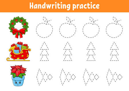 Handwriting pactice. Christmas theme. Education developing worksheet. Activity page. Color game for children. Isolated vector illustration. Cartoon character. Vector Illustratie