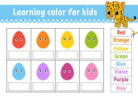 Learning color for kids. Education developing worksheet. Activity page with color pictures. Riddle for children. Isolated vector illustration. Funny character. Cartoon style.