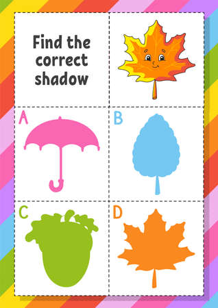 Find the correct shadow. Education developing worksheet for kids. Puzzle game. Activity page. Cartoon character. Autumn theme. Vettoriali