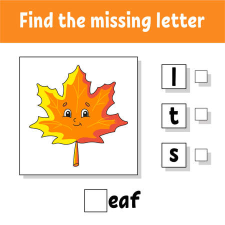 Find the missing letter. Education developing worksheet for kids. Activity page. Cartoon character. Autumn theme. Vettoriali