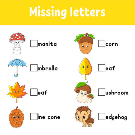 Autumn theme. Missing letters. Education developing worksheet for kids. Activity page. Cartoon character.